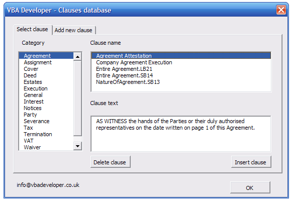 Word clauses database