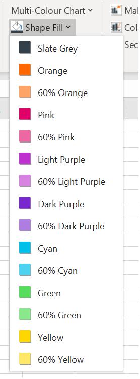 Excel custom colours